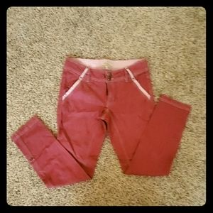 Ankle length/capris red denim pants